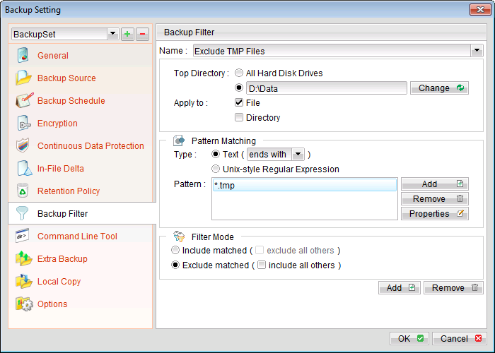 Eg. 2. excluding TMP files from D:\Data directory